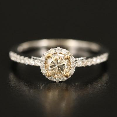 14K Diamond Halo Ring