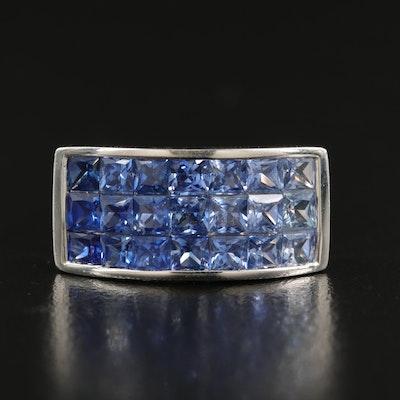 14K Gradient Invisible Set Sapphire Multi-Row Ring