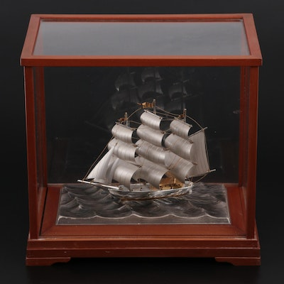 Seki Sterling Silver 960 Clipper Ship with Wood and Glass Display Case
