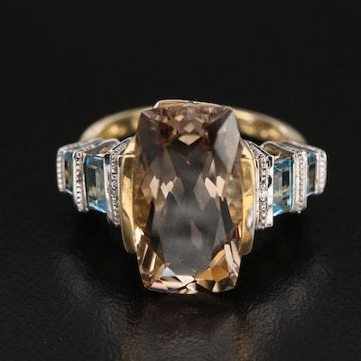 10K Smoky Quartz, Swiss Blue Topaz and Diamond Ring