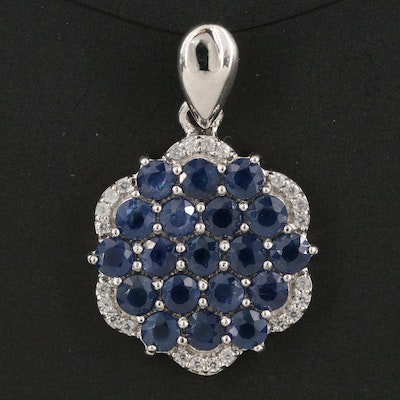 Sterling Sapphire and Zircon Cluster Pendant