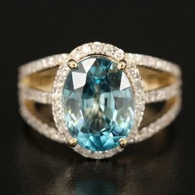 14K 5.62 CT Zircon and Diamond Halo Ring with Split Shoulders