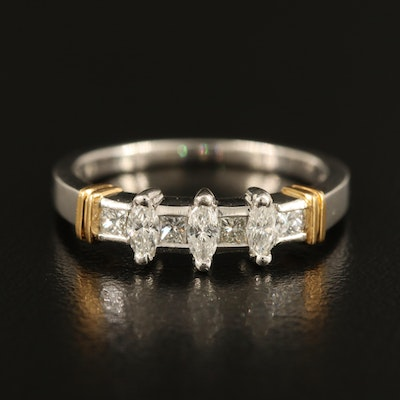 Platinum and 18K Diamond Ring with 0.25 CTW Center and 0.19 CTW Sides