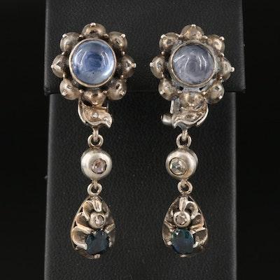 Antique Georgian Style 800 Silver Star Sapphire and Diamond Drop Earrings