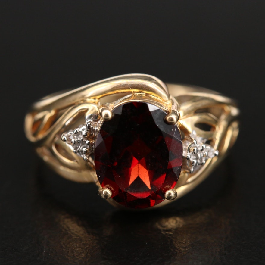10K Garnet and Diamond Openwork Ring