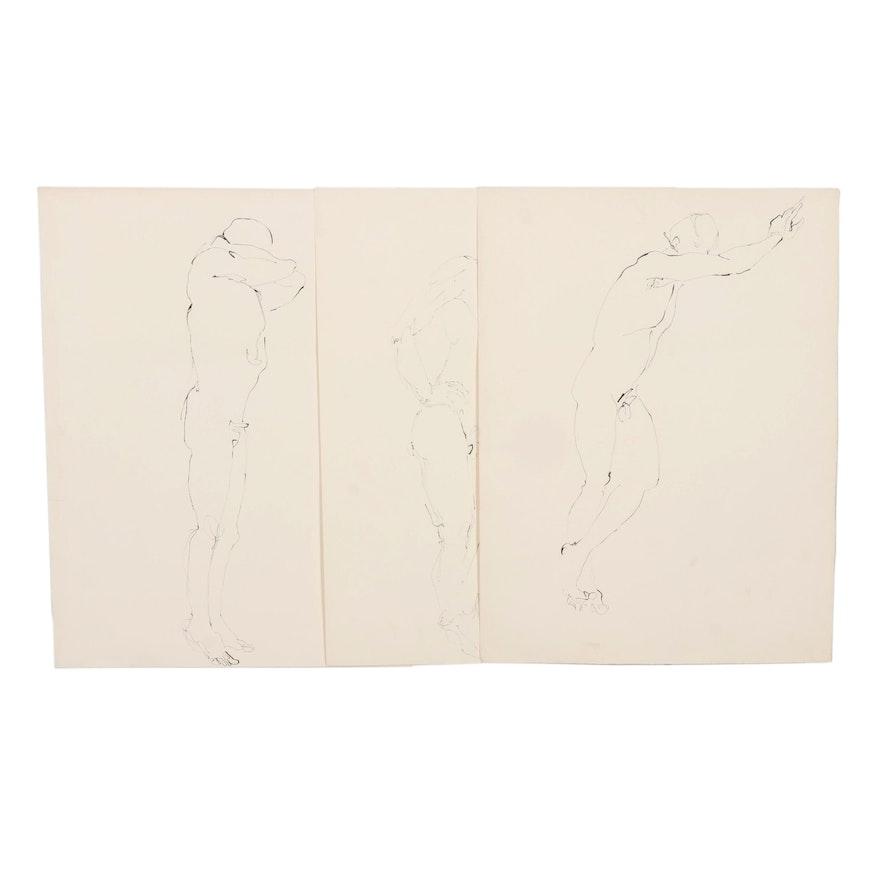 John Tuska Figural Ink Drawings of Male Nudes, Late 20th Century