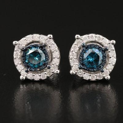 Sterling Silver 1.03 CTW Diamond Halo Stud Earrings