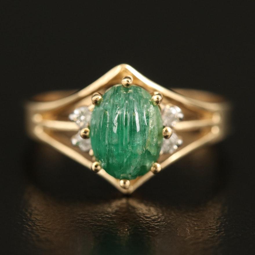 14K 1.19 CT Emerald and Diamond Openwork Ring