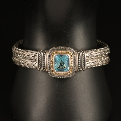 Sterling Topaz Woven Bracelet with 14K Accents