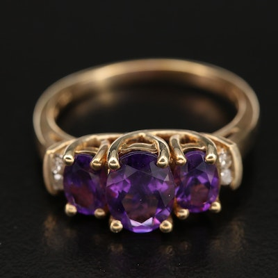 10K Amethyst and Diamond Ring with Trellis Setting
