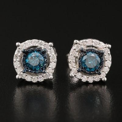 Sterling Silver 1.06 CTW Diamond Halo Stud Earrings