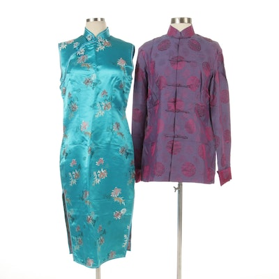 Chinese Style Floral Cheongsam and Medallion Brocade Jacket
