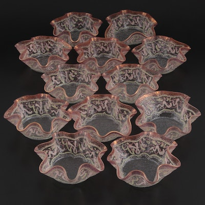 Hand-Painted Enameled Ruffled Glass Salad Bowls, Mid to Late 20th Century