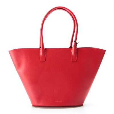 Mansur Gavriel Triangle Tote Bag in Red Calfskin Smooth Leather