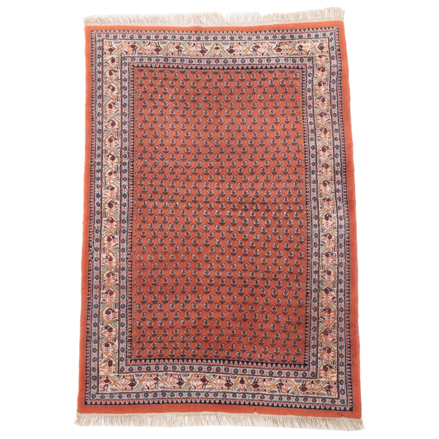 4'1 x 6'5 Hand-Knotted Indo-Persian Seraband Area Rug