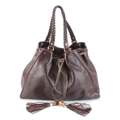 Gucci Brown Leather Peggy Tote with Braided Strap and Drawstring Bamboo Tassels
