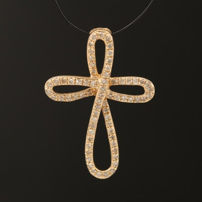 14K 0.17 CTW Diamond Cross Pendant