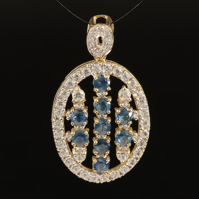 Sterling Sapphire and Zircon Pendant