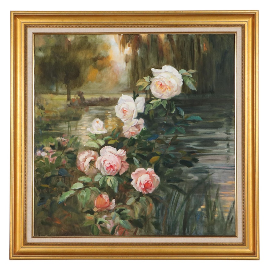 Oil Painting of Garden, Late 20th Century