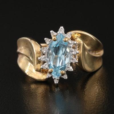 10K Sky Blue Topaz and Diamond Ring