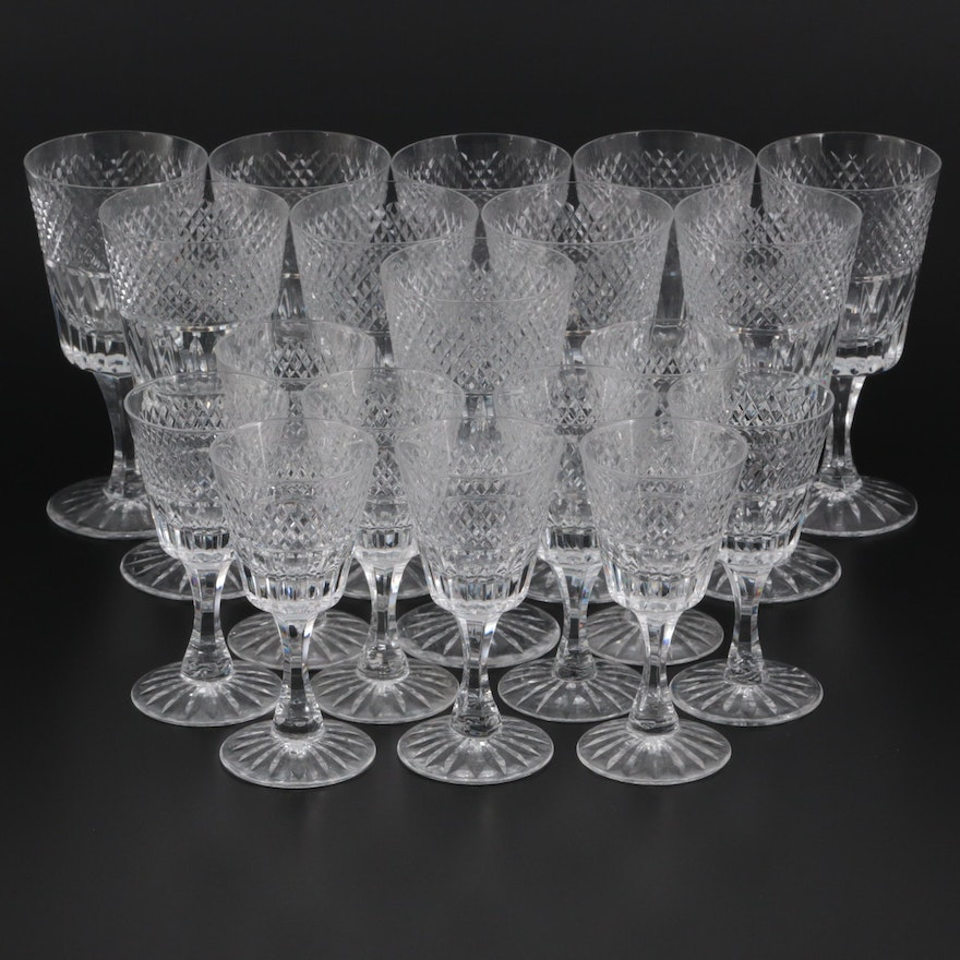 """Royal Brierley """"Stratford"""" Crystal Water Goblets and Wine Glasses"""