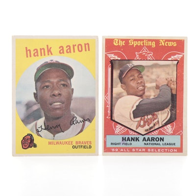 """1959 Hank Aaron Topps #380 and """"The Sporting News"""" #561 All-Star Baseball Cards"""