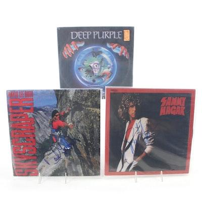 David Lee Roth, Sammy Hagar, Deep Purple Signed Vinyl LP Record Albums