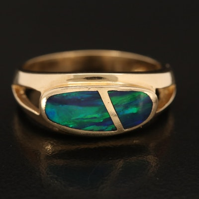 14K Opal Inlay East-West Band