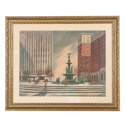 """Floyd Berg Offset Lithograph """"Fountain Square,"""" 1970"""