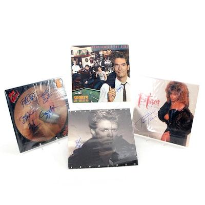 Tina Turner, The Cars, Bryan Adams, Huey Lewis & The News Signed Vinyl Records
