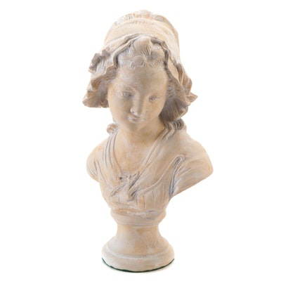 Resin Bust of Young Girl in Bonnet After Grinam Niam, Mid-20th Century