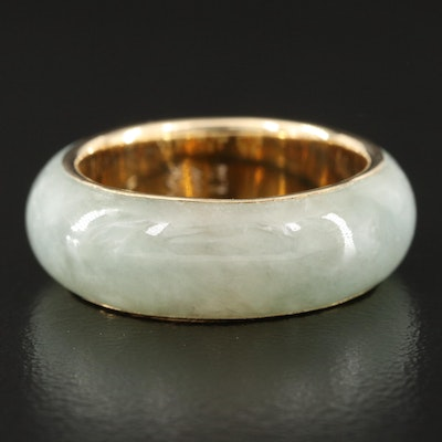 14K and Jadeite Hololith Band with Chinese Characters