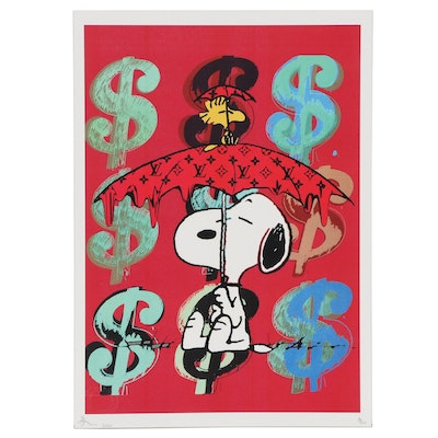 Death NYC Pop Art Graphic Print of Snoopy With Dollar Signs
