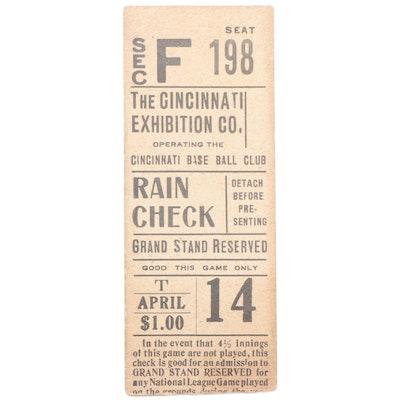 Cincinnati Reds Baseball Ticket Stub, circa 1910