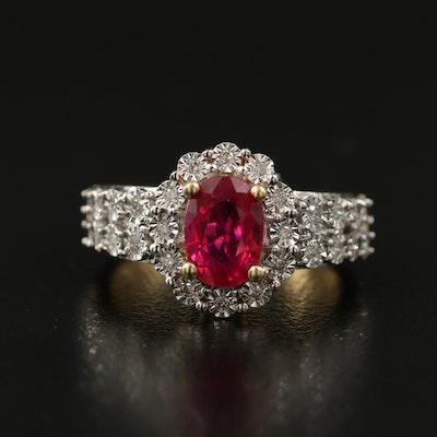 14K 2.60 CT Ruby and Illusion Set Diamond Ring