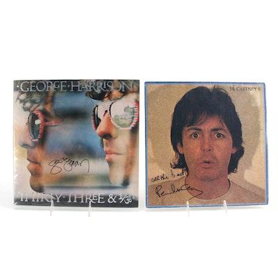 George Harrison, Paul McCartney Signed Vinyl LP Record Albums