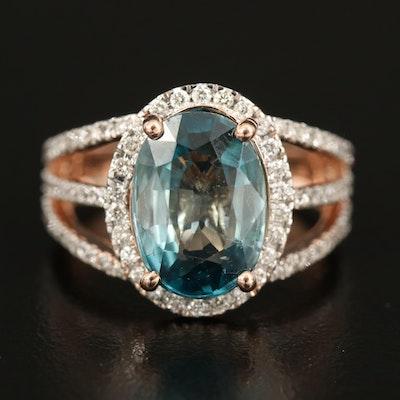 14K 5.84 CT Zircon and Diamond Ring with Split Shoulders