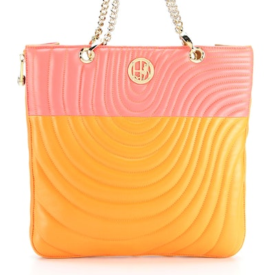 Henri Bendel No. 7 Quilted Colorblock Leather Expandable Zip Tote
