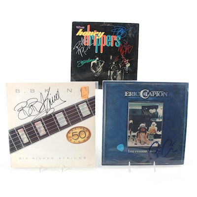 Eric Clapton, The Honeydrippers, and B.B. King Signed Vinyl LP Record Albums