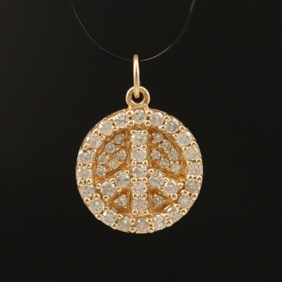 14K 0.59 CTW Diamond Peace Symbol Pendant