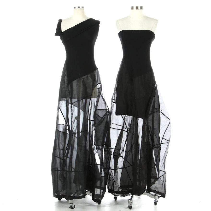 Donna Karan New York Black Jersey and Sheer Occasion Dresses