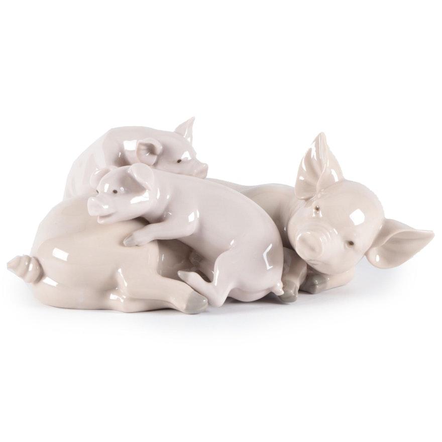 "Lladró ""Playful Piglets"" Porcelain Figurine Designed by José Roig"