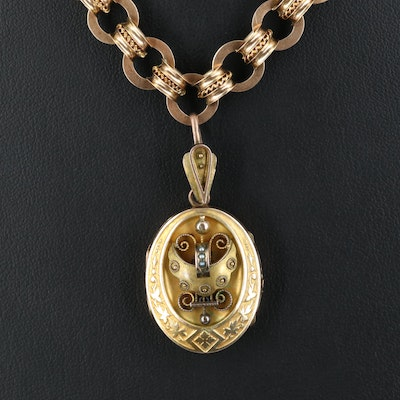 Victorian Locket Necklace with Pearl and Filigree Detail