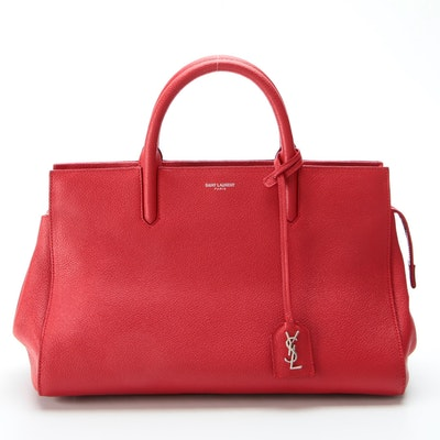Yves Saint Laurent Rive Gauche Cabas Leather Two-Way Tote