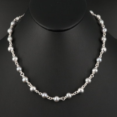 Michael Dawkins Sterling Silver Pearl and Bead Necklace