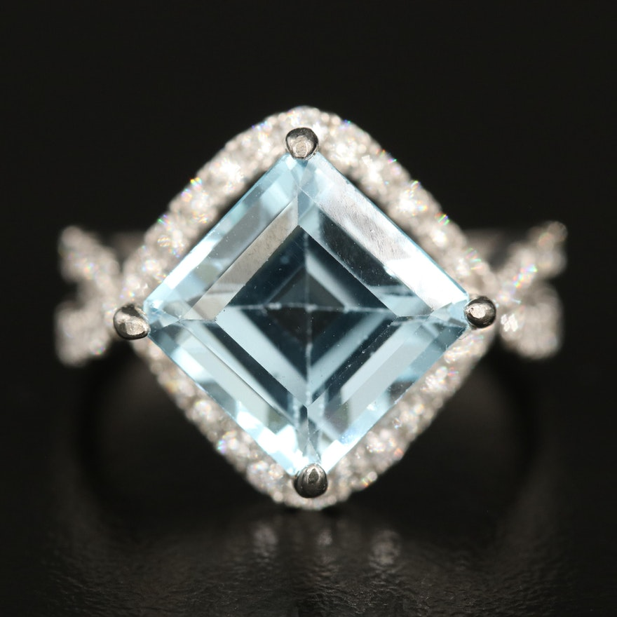 14K 6.02 CT Blue Topaz and Diamond Ring with Split Shoulders