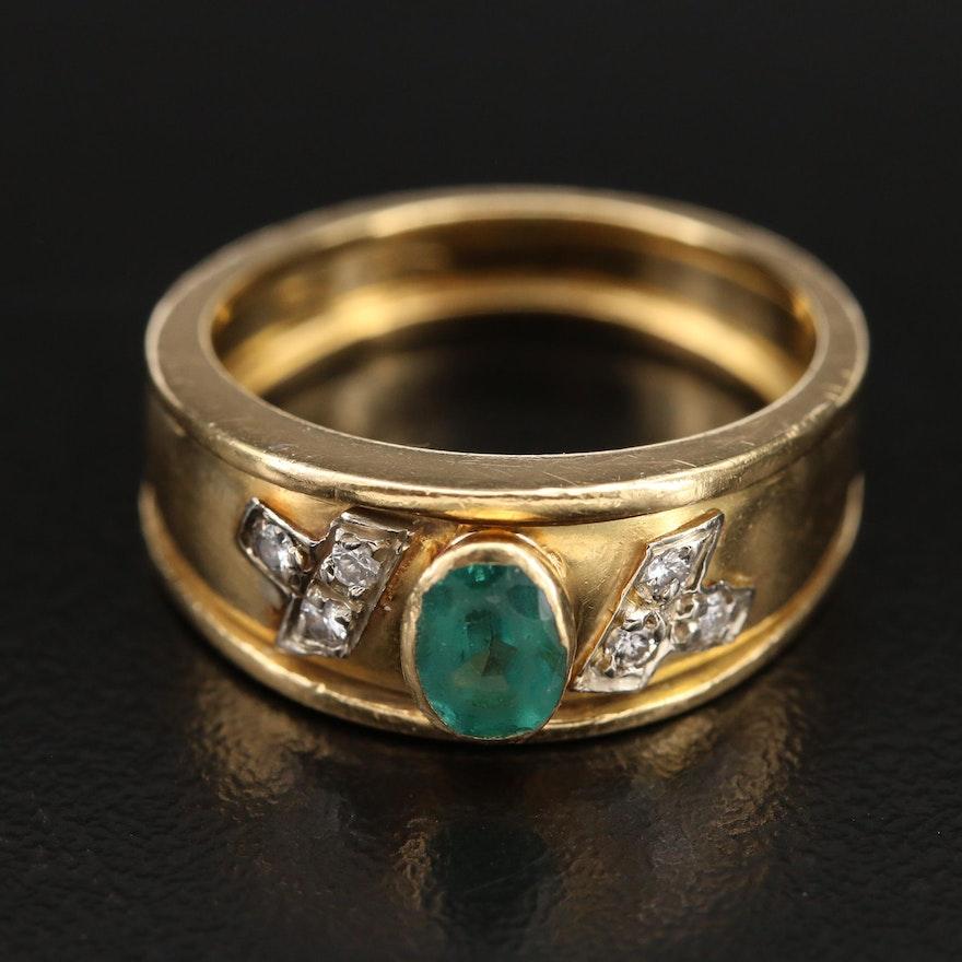 Italian 18K Emerald and Diamond Band