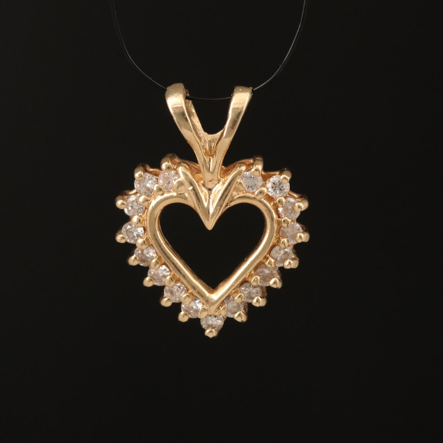 14K 0.25 CTW Diamond Heart Pendant