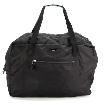 Gucci Duffle Bag in Black Nylon Twill with Leather Trim