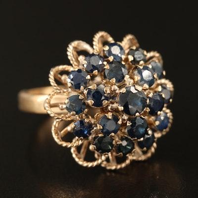 10K Sapphire Tiered Ring with Openwork Braid Detail